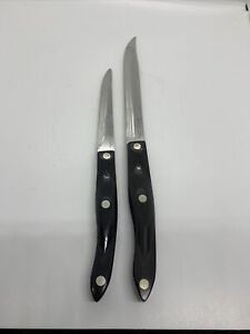 PAIR OF CUTCO SERRATED MEAT BREAD KNIVES 1729 & 1721 BROWNISH BLACK HANDLES USA