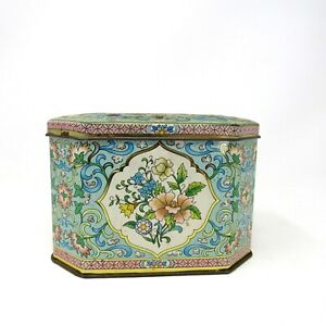 Vintage Asian Floral Tin made in England Decorative/Cookie/Candy Tin Rectangle
