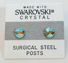 6mm Dorado Azul Brillante Cristal Pendientes de botón con Swarovski Elements