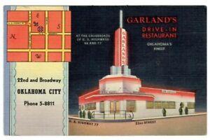 Oklahoma City, OK Garlands Drive-In Restaurant Crossroads Route 66 & 77 Postcard