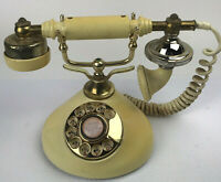 Vintage Yellow And Brass French Style Roatary Dial Telephone Parts Not Working