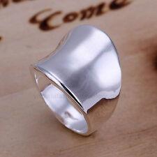 925 Sterling Silver Plated UOMO DONNA TRAMA GROSSA Anello / Anello Pollice taglia P1 / 2 8 grandi