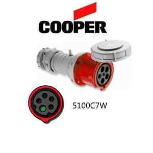 IEC 309 5100C7W Connector, 100A, 277/480V, 4P/5W, Red - Cooper # AH5100C7W