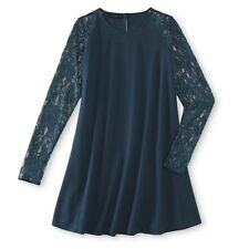 Women's Flowing Teal Lace Sleeved Simply Styled By Sears Dress Size Large