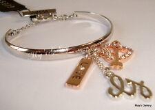 GUESS ??? Jeans Rhinestones  Logo Bangle  Bracelet silver Tone Charms    NWT