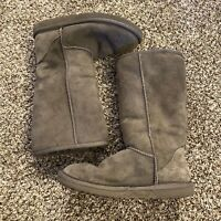 UGG AUSTRALIA Gray Suede Classic Tall Sheepskin Boots Womens Size 5 Style 5815
