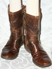 BORN MENS TALL PEBBLED LEATHER ZIP UP RIDING BOOTS COGNAC BROWN 10.5 $160
