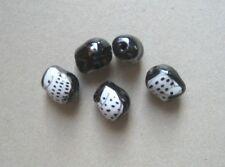 JEWELLERY-BEADS 5 x 18mm x 15mm Black/White Glass Owl Beads