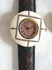 COCONUT SHELL BEZEL WATCH-COPPER COLOR FACE* BLACK LEATHER BAND*ROMAN NUMERALS*