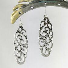 "Earrings 2"" Long Long Silver Filigree Dangle"