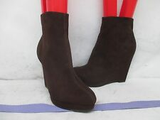 Guess Brown Wedge Heel Ankle Zip Booties Fashion Boots Size 6 M