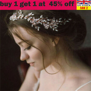 Wedding Bride Bridal Flower Prom Party Pearl Crystal Tiara Hair Band Headband li
