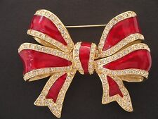 Joan Rivers Pave' and Ruby Red Enamel Bow French Ribbon Collection Pin Brooch