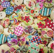 100pcs/Lot 15mm Mixed Round Pattern 2 Holes Wood Buttons Sewing Scrapbooking New