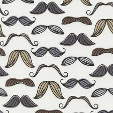 TIMELESS TREASURES MUSTACHES ON WHITE COTTON FABRIC BTY