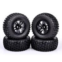 4X 12mm Hex Short Course Rubber Tires&Wheel Rim For TRAXXAS SlASH RC 1:10 Truck