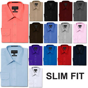 NEW Men's Slim Fit Button Down Long Sleeve Solid Color Dress Shirts