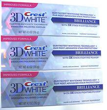 3 x NUOVA Crest 3d WHITE brillantezza Bianco Dentifricio Sbiancamento (confezione da 3)