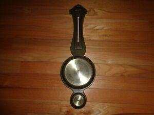 Vtg 70's Green Faux Wood TAYLOR Banjo Weather Barometer Thermometer Hygrometer