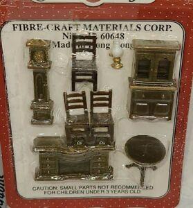 Dollhouse furniture, Mini Furniture by Fibre-Craft, dining room  no. 4160 8 pcs