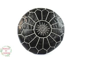 Black Moroccan Pouf Ottoman Footstool Embroidered leather pouf floor pouf hippie