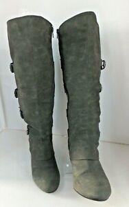 Rome Calf  Women's Ridding Dress Boot No Box, Size 8.5 M Wide- Gray