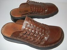 Women's BASS Brown Leather Woven Mule Clog Shoe Sz 6 Medium