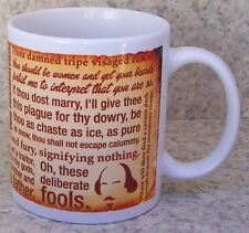 Coffee Mug Entertainment Great Shakespeare Insults New 11 ounce cup w/ gift box