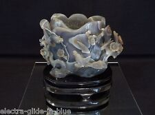 CHINESE FINELY CARVED BANDED AGATE BRUSH POT LATE QING DYNASTY C1920