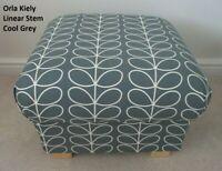Storage Footstool Orla Kiely Linear Stem Cool Grey Fabric Pouffe Vintage Style