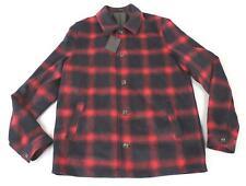 Asos Men's Wool Mix Button Heritage Check Jacket HD3 Burgundy Long Size XL NWT