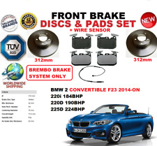 For BMW 220 225 Convertible f23 312 mm Front Brake Discs Set + Pad Kit + Capteur