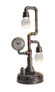 Steampunk Pipework Clock Stand Cordless LED Skull Bulb Copper Accent Desk Light
