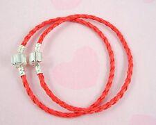 10pcs Red Charm Leather Bracelets Fit European Beads 20cm P11-3