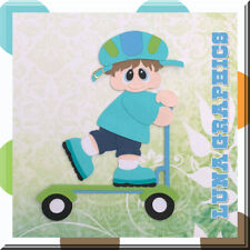 BOY RIDING SCOOTER Embellishment card making & scrapbooking NOT FOR RESALE
