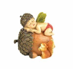 Miniature Fairy Garden Fall Fairy Baby Sleeping on Acorn  - Buy 3 Save $5
