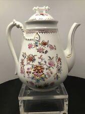 Victorian 9�coffee / tea pot gold trim floral design C.1900