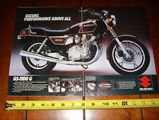 1982 SUZUKI GS 1100G - ORIGINAL 2 PAGE AD GS1100