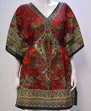 PLUS SIZE ABSTRACT PAISLEY FLORAL KAFTAN TOP RED 20 22 24 26 28 30 32 34