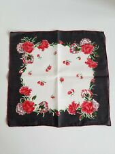 Vintage Ladies Hankie Black And Red Floral