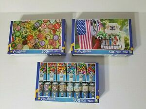 Jigsaw Puzzle lot of 3-500 pieces dog and flag bottle caps candy machine all new