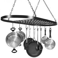 Pan And Pot Rack Hang From Ceiling Mount Organizer Kitchen Storage Rack w/Hooks
