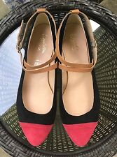 NEW❤️SEYCHELLES BLACK RED SUEDE TAN TRIM ANKLE STRAP BALLET FLATS-8❤️