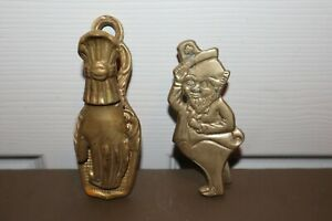 "Vintage 4"" Leprechaun & 5"" Praying Hands Metal Brass Clip & Wall Mount Knocker"