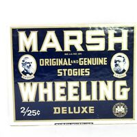 Marsh Wheeling Deluxe Original and Genuine Stogies Cigar Box Lid Only Plate Sign