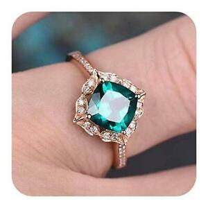 Cushion Shaped Stone Engagement Halo Ring for Women Rose Gold In 925 Silver
