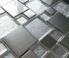 NEW LIGHT SILVER GREY BRUSHED METAL & FOIL BACKED GLASS MOSAIC TILES 8MM RRP £16