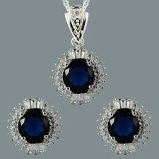 Prong Blue Sapphire Slide Pendant Curb Chain Necklace Stud Earrings Jewelry Set