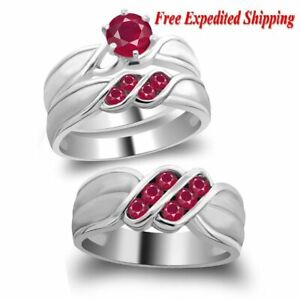 Details about  /Red Ruby Brilliant Round Sterling Silver Engagement Wedding Ring Set 2.35 Ctw