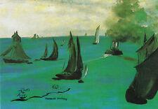 Kunstpostkarte -  Edouard Manet:  Das Dampfschiff, Seestück oder Ruhige See